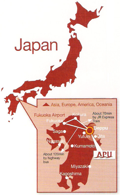 Map showing location of Beppu in Japan