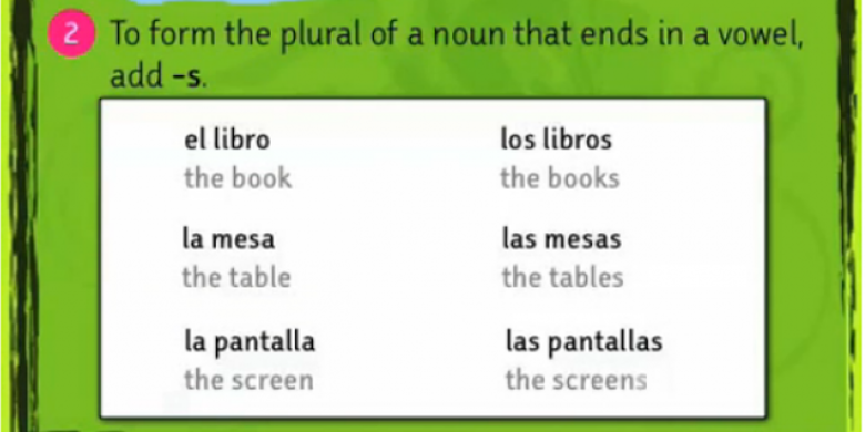 "Screen capture of an iLearn Spanish course activity: ""To form the plural of a noun that ends in a vowel, add -s."""